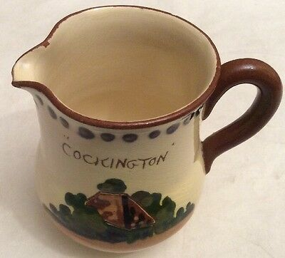 """Torquayware Watcombe Jug """"Cockington"""" 'There's Gladness In Remembrance'"""