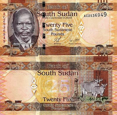 SOUTH SUDAN 25 Pounds banknotes World Paper Money UNC Currency Pick p-8 (2011)