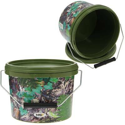 2 X Round 2.5L Camo Bait Buckets For Boilies Pellets Ngt Carp Fishing Tackle