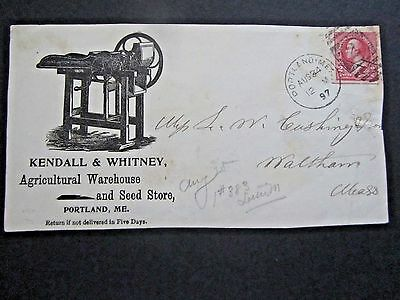 Advertising Kendall & Whitney Agriculture Warehouse, Portland ME cancel, 1897
