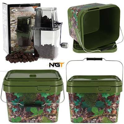 Ngt Multi Bait Crusher Grinder System + 1 Square 10L Camo Carp Fishing Bucket