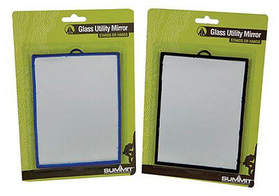 Summit Camping Hiking Glass Utility Mirror 12 x 17cm - Hang or Use Stand