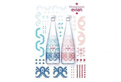 Christian Lacroix Limited Edition Collectible Glass Water Bottle EVIAN Paseo HTF