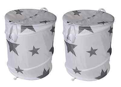 2x Pop-Up Foldable Star Laundry Hamper Storage Basket With Zipped Lid and Carry