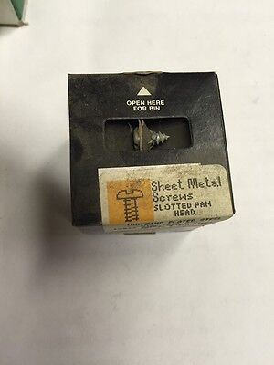 Vintage #10 X 3/8 Inch Pan Head Slotted Steel Sheet Metal Screws Box Of 100
