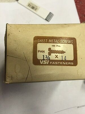 Vintage #14 X 1 3/4 Inch Pan Head Slotted Steel Sheet Metal Screws Box Of 100