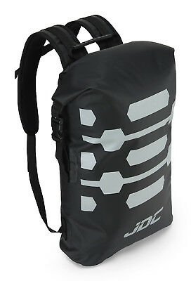 JDC Motorcycle Motorbike Rucksack 100% Waterproof Dry Bag 30L Hi-Vis - Black