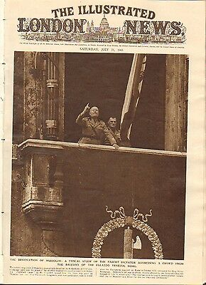 The Illustrated London News Ww2 Mussolini Sicily Panzer Nr 5441 1943 36Cm Mm 66