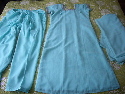 Bnwt Ladies Indian Asian  Blue Turquoise 3-Piece Set 10 / 12 M Or Fancy Dress