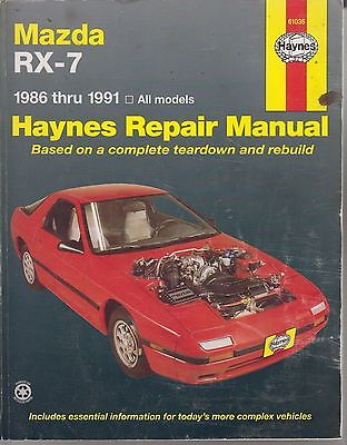Mazda Rx-7 Rx7 Sports Coupe 1986 - 1991 Owners Workshop Manual