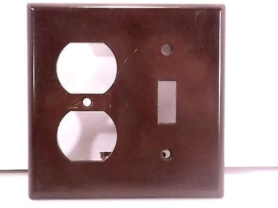 Vintage Bakelite Brown Light and Plug Switch Cover Plate #2