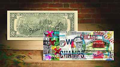 2016 CHICAGO CUBS World Champions U.S. $2 Bill - SIGNED by Artist RENCY * Banksy