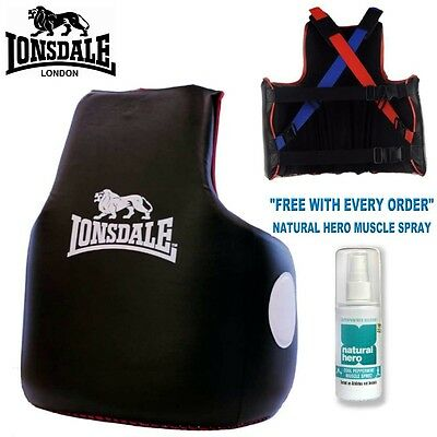Lonsdale Boxing Martial Arts Heavy Hitter Trainers Vest Body Protector Black