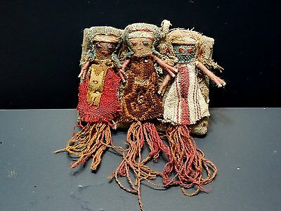 Rare Antique Hand-Woven Three-Indian Doll Hanging Art.
