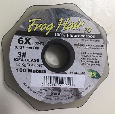 Frog Hair Fluorocarbon 100m Tippet Guide Spool 6x