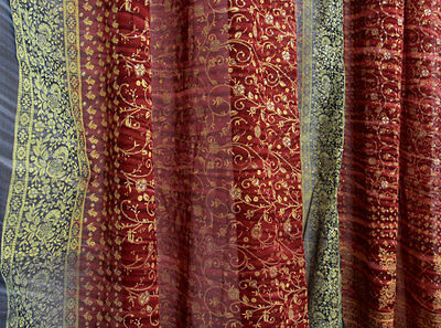 SALE - Sienna RED, Navy BLUE Full Indian Sari, Sheer Window Canopy Scarf 190""