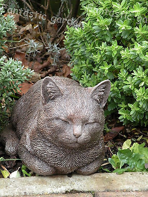 Sleeping/ Prowling Cat Stone garden ornament statue
