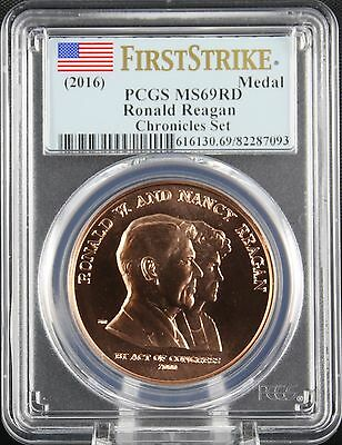 2016 Reagan Medal Coin and Chronicles Set PCGS MS 69 Red First Strike