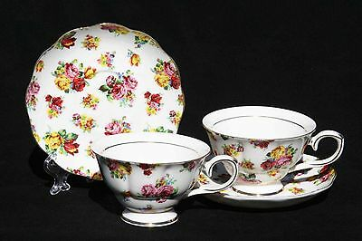Royal Devonshire  Georgina Roses Flower Teacup Tea Cup and Saucer Pair China