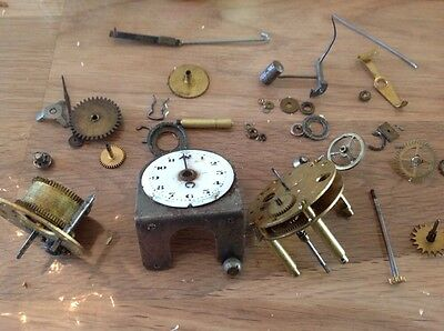 Vintage Clock Parts Hangers Hands Cogs Wheels Movements Winders