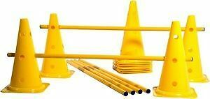 Agility Trainer Set 12 cones 6 Poles XLR Speed Fitness Dog training Hurdles Cone