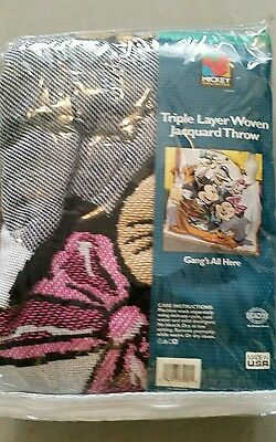 Disney Mickey Mouse Woven  Throw Blanket Gangs All Here
