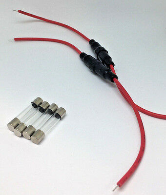 3 Amp Fuse Protection Kit - 2x Inline Fuse Holder Cable Lines Wire with 4 Fuse