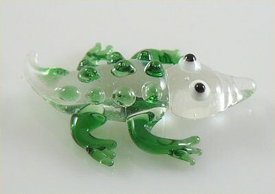 Gecko Salamander Miniature Glass Figurine Clear & L.Brown approx 1.5 inches long