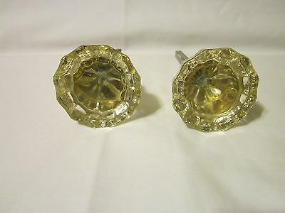 Antique Glass Door Knobs 12 Points w/Shaft (Qty 2)