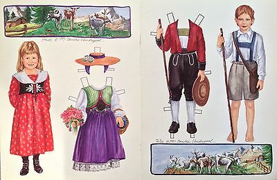 Heidi and Peter Paper Doll By Sandra Vanderpool, 1997 Doll Mag. Color Plate