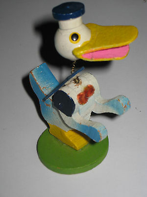 Early Donald Duck figure Wooden JAPAN Spring neck figurine - great shape!