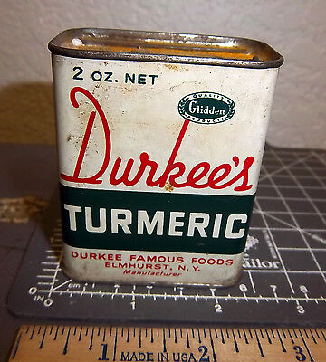 vintage Durkees Turmeric spice tin, great colors & graphics, tin is still full