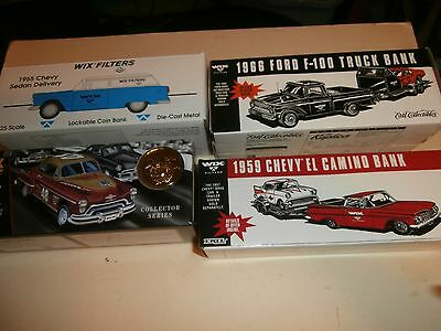 4 Wix Filters Die Cast Car Truck Bank 1959 Chevy El Camino 1966 Ford F-100 1955
