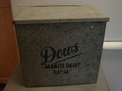 Vintage Galvanized Milk Box Quot H P Hood Amp Sons Quot Front Porch