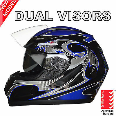 New Full Face Motorcycle Road Helmet Adult Dual Visor System Blue Aust Standard