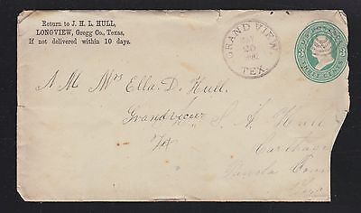 USA 1882 3c POSTAL STATIONERY COVER GRAND VIEW TO CARTHAGE TEXAS