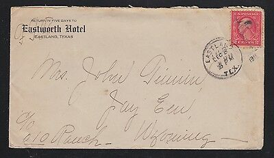 USA 1910's EASTWORTH HOTEL IN EASTLAND TEXAS TO WYOMING