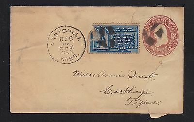 Usa 1893 Special Delivery Uprated Ps Cover & Letter Marysville Kansas