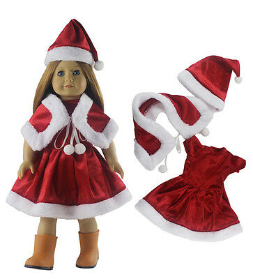 3 pcs Christmas Outfit Doll Clothes For 18'' inch American Girl Doll Xmas Gift