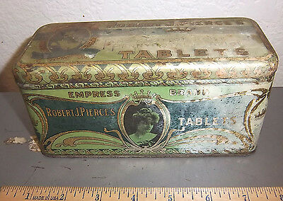 vintage Robert J. Pierce's Empress Brand tablets tin, great graphics & colors
