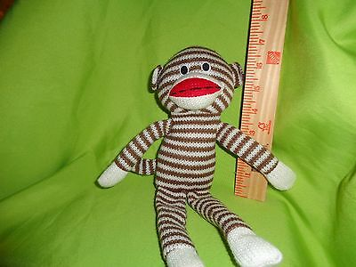 SOCK MONKEY WITH BROWN AND WHITE STRIPES PLUSH STUFFED ANIMAL toy doll