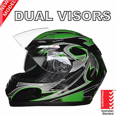 New Full Face Motorcycle Road Helmet Adult Dual Visor System Green Aust Standard