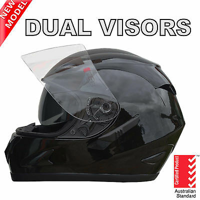New Full Face Motorcycle Road Helmet Adult Dual Visor System Gloss Black New