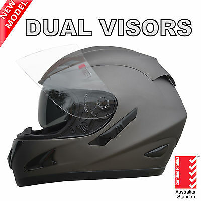 New Full Face Motorcycle Road Helmet Adult Dual Visor System Matt Grey New