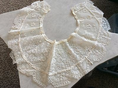 Vintage French Dolls Victorian Wide Delicate Net Tambour LACE Collar Costume