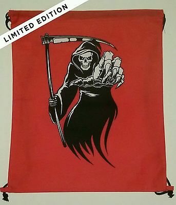 Grim Reaper Skull Death Cinch Backpack Travel Bag NEW