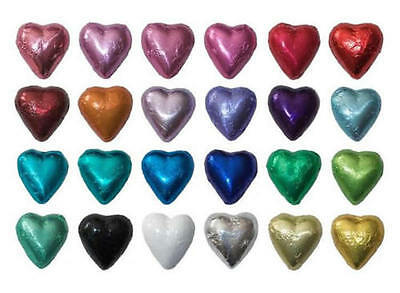 200 Milk Chocolate Hearts-Custom Foil Colours-Wedding Favours Birthday Parties