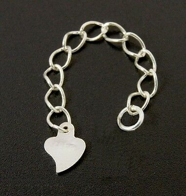 HEART DROP-Solid 925 sterling silver bracelet/necklace extender/ extension chain