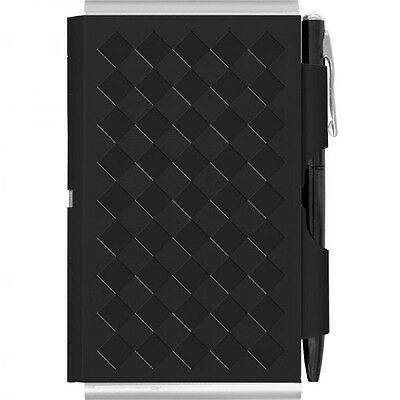 Business Card Holder with Pocket Notebook - Notepad with Pen in Black
