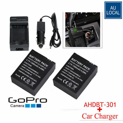 Wall Car Charger Kit + 2x AHDBT-301 Replacement Batteries for GoPro HD Hero3 3+